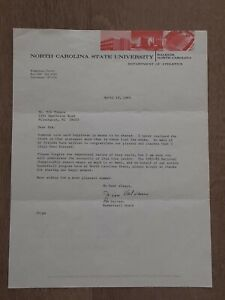 JIM VALVANO AUTOGRAPHED SIGNED 4-19-83 LETTER NATIONAL CHAMPIONSHIP CONTENT RARE