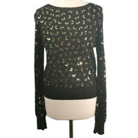 NEW Topshop Size 12 Black Round Neck Jumper Gold Sequins Xmas Christmas Party