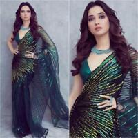 Saree Sari ORGANZA Party Wear Indian Blouse Bollywood Designer Wedding Ethnic