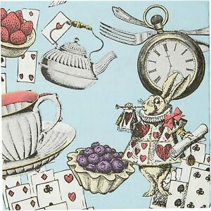 20 x Alice in Wonderland Blue Paper Canape Drinks Napkins Mad Hatters Tea Party