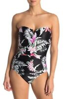 Tommy Bahama One-Piece Swimsuit Black Floral Strapless Bandeau Swimwear NWT