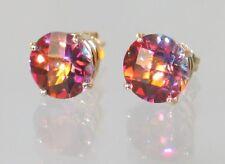 Twilight Fire Topaz, 14KY Gold Post Earrings, E112