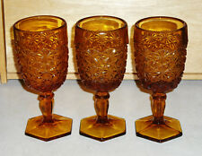 Lot of 3 Vtg L.E. Smith Amber Glass Daisy & Button Stemmed Water Goblets
