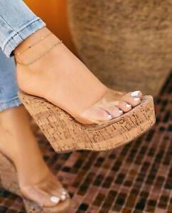 NEW Transparent Clear Cork Platform Slides Mules Wedge Sandal Peep Toe High Heel