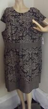 WOMENS 3X BLACK & BROWN SHEATH DRESS Cap Sleeves (26-28) stretch polyester
