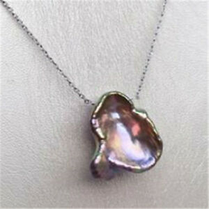 15-18mm Purple Baroque Pearl Pendant 18inch Flawless Necklace luxury classic