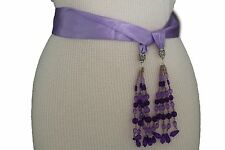 Edgy Women Fashion Belt Long Lavender Tie Fringe Beads Scarf Hip High Waist XS M