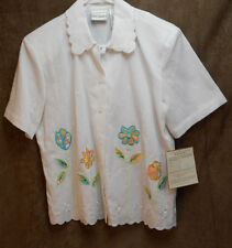 Napa Valleys Embroidered Flower Print Blouse Small NWT