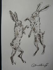 Original drawing in pen & ink wash on paper of two boxing hares