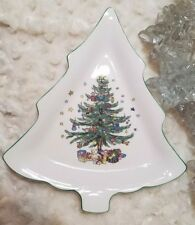"""Nikko Christmastime Large 12"""" Tree Shaped Candy Dish/ Tray/Cookies Japan"""