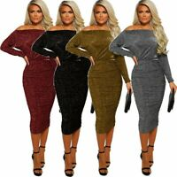 UK Women Off Shoulder Bodycon Dress Long Sleeve Split Party Evening Gown Dresses