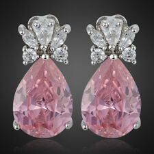 Xmas Fashion Lady Pink Sapphire Topaz Pear 18K White Gold Plated Gp Stud Earring