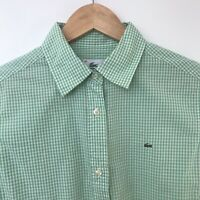LACOSTE Womens Green Button Down Check Long Sleeve Shirt Size Medium