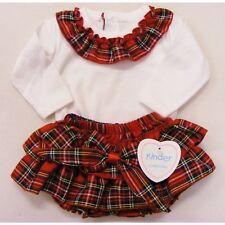 Kinder Spanish Style Girls Red Tartan Jam Pants and White Top Set