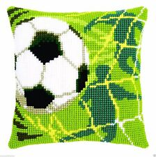Chunky Cross Stitch Cushion Front Kit 40x40cm 4.5hpi canvas - Football Goal