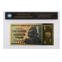 100 Quintillion 24k Gold Foil Gold Banknote Colorful 999.9 Zimbabwe Note In COA