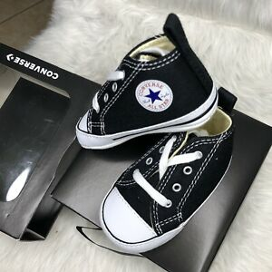 CONVERSE NEWBORN CRIB BOOTIES BLACK 8J231 FIRST ALL STAR BABY SHOES SIZE 4