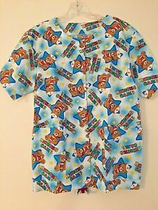Friends of the Heart Scrubs Top Medium Nurses Care RN Teddy Bears NWOT