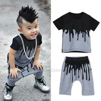 2Pcs Kids Baby Toddler Infant Boy Lovely T shirt Top+ Long Pants Outfits Clothes