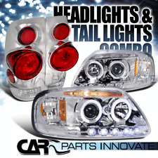 97-03 Ford F150 Chrome Halo LED Projector Headlights+3D Altezza Tail Lamps