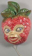 Antique Chalkware Hanging String Holder ~ Strawberry With Woman's Face Figural