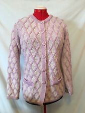 Size M Aran Crafts Merino Wool Irish Fisherman Purple Cardigan Sweater RUNS L XL