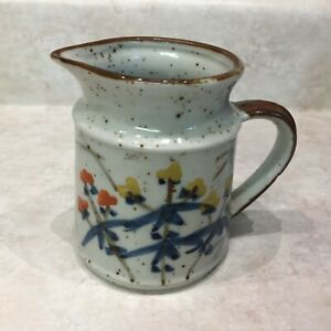 Otagiri Japan Brown Speckled Stoneware Creamer with Hand Painted Flowers