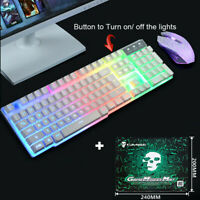 T6 Rainbow Backlight USB Ergonomic Gaming Keyboard & Mouse Set for PC Laptop