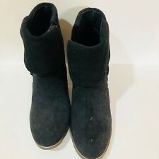 Women's Black Suede Ankle Boots Black with Tassels Size 10M