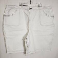 Denim & Co. Womens Bermuda Shorts Size 3X White Classic Waist Stretch Denim