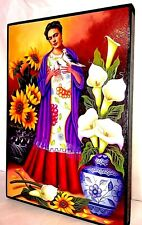 "Print/Painting Mexico Art Wood Frame Frida Kahlo Talavera Flowers 36""X24"" HUGE!!"
