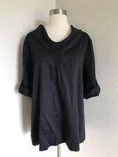 Soft Surroundings Cowl Neck Tunic Shirt Blouse Top Career Black Womens Size XL