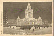 Montreal, Canada, Winter Carnival, The Ice Palace, Vintage, 1883, Antique Print.