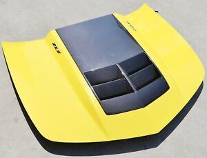 2010-2015 Camaro ZL1 Hood w/ Gloss Carbon Fiber Hood Insert Bright Yellow USED