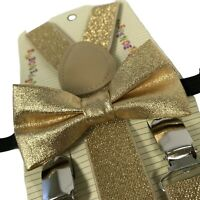 USA Gold Glitters Suspender and Bow Tie Set for Baby Toddler Kids Boys Girls