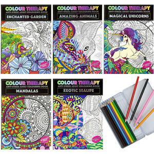 A4 ANTI-STRESS ADULT COLOURING BOOK COLOUR THERAPY RELAX ADULTS MENTAL HEALTH