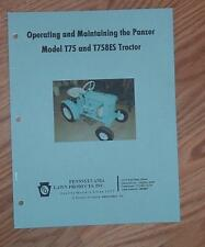 PANZER MODELS T75 & T758ES TRACTOR  OWNERS MANUAL