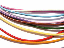 Cord Necklace Leather Black Red Yellow Pink Brown Green Purple 2mm Round,  5 Qty