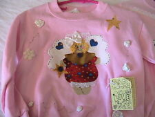 CUTE ANGEL WINTER HOLIDAY~CHILD SWEATSHIRT size 4T fun novelty *OOAK PINK