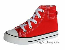 New Boys Girls Youth Tennis Shoes High Top Canvas Athletic Skater Sneakers Kids