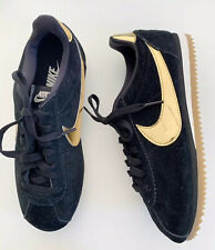 Nike Cortez Suede Black Gold Trainers Size 4.5 ladies Casual