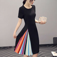 Women's Elegant Rainbow Cotton Evening Party Cocktail Short Mini Dress Plus Size