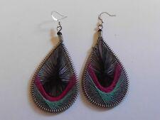 Ohrring Oval schwarz rosa türkis Seidenfaden Metallösen Umrandung Hingucker 800