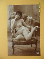 Original 1910's-1930's RPPC Jean Agelou Postcard Nude Risque Lady in Chair  #11