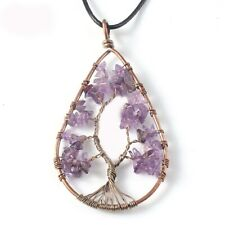 Water Drop Tree Of Life Natural Purple Amethyst Gemstone Woman Necklace Pendants
