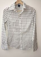 Ladies White With Pattern Long Sleeve Shirt Size S Gap<NH8495