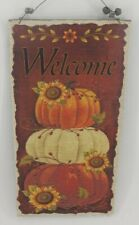 Rustic Burlap & Wood Welcome Pumpkins & Sunflowers Wall Sign New Free Shipping
