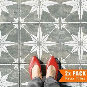 2x Faux Tile Stencils - Paint Tile Effect on Floors Walls Garden Patios - Zarzis