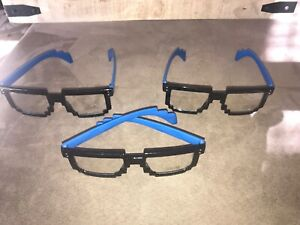 LOT OF 3 NEW Exclusive BLUE NYC COMICON NYCC Geico Gaming Pixel 8Bit Glasses