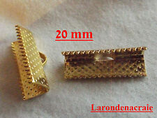 20 attaches ruban pince fermoir griffe embout Doré 20mm